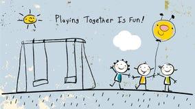 Enfants jouant ensemble, ayant l'amusement illustration stock