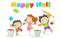 Enfants jouant Holi Photos libres de droits