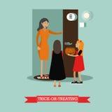 Enfants jouant le des bonbons ou un sort Affiches heureuses de concept de vacances de Halloween Illustration de vecteur dans la c Photographie stock