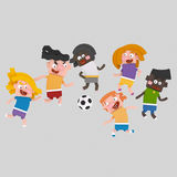 Enfants jouant le football 3D Photo libre de droits