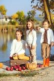 Enfants jouant près du lac en automne Images stock