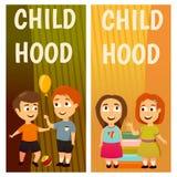 Enfants kindergarten Éducation leçon Garçons et filles Les bannières pour faire de la publicité le jeu et se développent illustration stock