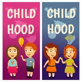 Enfants kindergarten Éducation leçon Garçons et filles Les bannières pour faire de la publicité le jeu et se développent illustration de vecteur