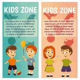 Enfants kindergarten Éducation leçon Garçons et filles Les bannières pour faire de la publicité le jeu et se développent illustration libre de droits