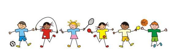 Enfants, ligne illustration de vecteur