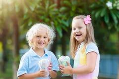 Enfants mangeant la crême glacée Enfant avec le dessert de fruit Photo stock