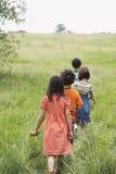 Enfants marchant sur le champ herbeux Photo libre de droits