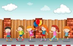 Enfants marchant sur le trottoir illustration stock