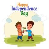 Enfants mignons célébrant le Jour de la Déclaration d'Indépendance indien Images libres de droits