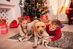 Enfants mignons et Noël de attente d'animal familier Photos libres de droits