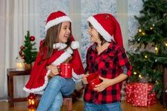 Enfants mignons, garçon et fille, ayant l'amusement sur Noël Images stock