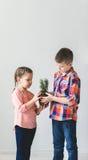 Enfants mignons garçon et fille tenant la jeune usine dans un pot Photos libres de droits