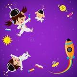 Enfants mignons sur l'endroit de l'espace illustration stock