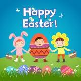 Enfants mignons utilisant des costumes de thème de Pâques Image stock