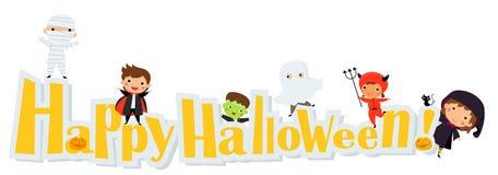 Enfants mignons utilisant le costume de monstre de Halloween Photographie stock