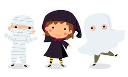 Enfants mignons utilisant le costume de monstre de Halloween Photos stock