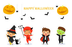 Enfants mignons utilisant le costume de monstre de Halloween Photographie stock libre de droits