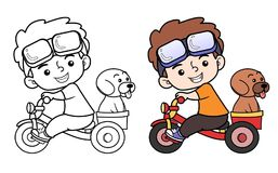 Enfants montant le vélo avec le chien Illustration Libre de Droits