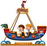 Enfants montant sur Viking illustration de vecteur