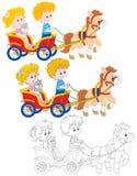 Enfants montant un poney Photos libres de droits