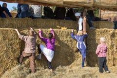 Enfants néerlandais essayant d'escalader un mur de foin Photos libres de droits