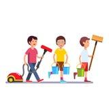 Enfants nettoyant l'équipe faisant des travaux du ménage illustration stock