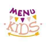 Enfants nourriture, menu spécial de café pour le calibre coloré de signe de promo d'enfants avec le texte, Garland And Arrow Image libre de droits