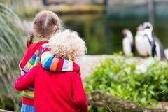 Enfants observant des animaux au zoo Photographie stock