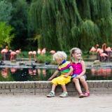Enfants observant des animaux au zoo Images stock