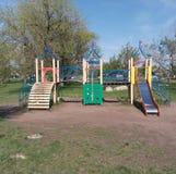 Enfants, parc, coin, été, fond, glissière, bébé, enfants, vide, verts, terrain de jeu, blanc, équipement, table, rue, pla Image libre de droits
