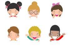 Enfants piaulant derrière la plaquette, enfants heureux, petits enfants mignons sur le fond blanc, illustration de vecteur illustration de vecteur