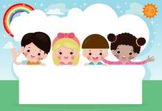 Enfants piaulant derri?re la plaquette, enfants heureux, petits enfants mignons sur le fond blanc, illustration de vecteur illustration libre de droits