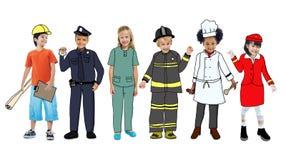 Enfants portant futur Job Uniforms illustration stock