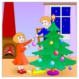 Enfants préparant l'arbre de Noël Photographie stock