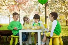 Enfants préscolaires doux heureux, célébrant le cinquième anniversaire du Cu Photo stock