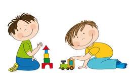Enfants préscolaires heureux deux garçons jouant ensemble illustration libre de droits