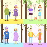 Enfants, quatre saisons Photos stock