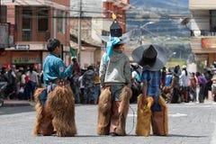Enfants quechua indigènes à la célébration d'Inti Raymi Photographie stock libre de droits