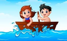 Enfants ramant un bateau dans l'océan illustration stock