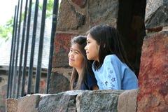 Enfants regardant à l'extérieur au-dessus du mur en pierre Image stock