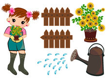 Enfants réglés de jardinage Images libres de droits