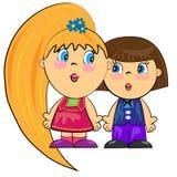 Enfants romantiques des couples isolated.cartoon Photos stock