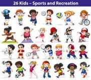 Enfants s'engageant dans différentes activités Photographie stock
