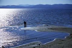 Enfants silhouettés sur une plage Image libre de droits