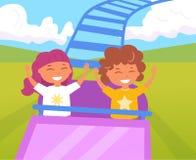Enfants sur des montagnes russes illustration libre de droits