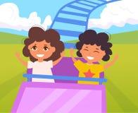 Enfants sur des montagnes russes Vecteur illustration de vecteur