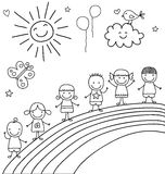 Enfants sur l'arc-en-ciel Photos stock