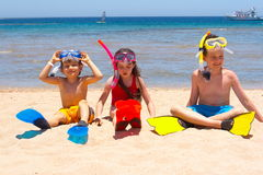Enfants sur la plage image libre de droits