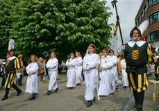 Enfants sur le défilé de Doudou, Belgique Photos libres de droits