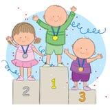 Enfants sur le podium Photo libre de droits